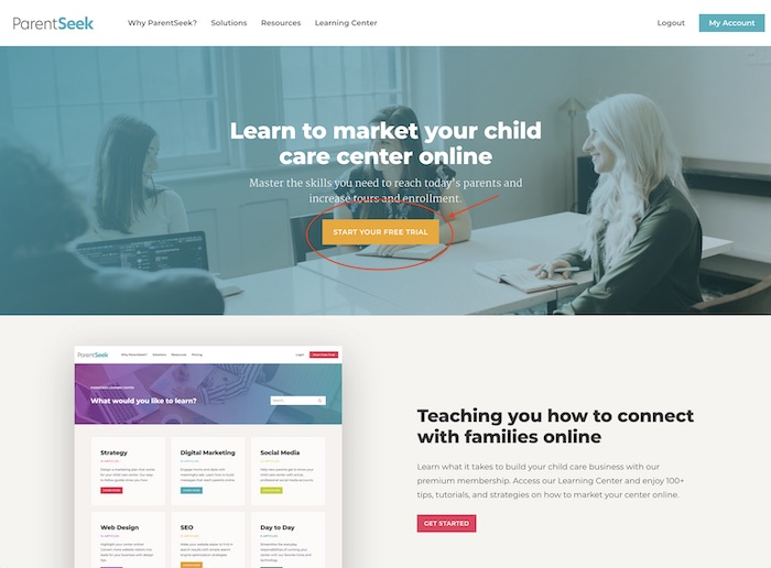 landing page with a call to action screenshot